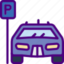 car, distance, parked, travel, vehicle icon