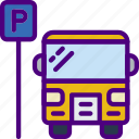 bus, car, distance, parked, travel, vehicle icon