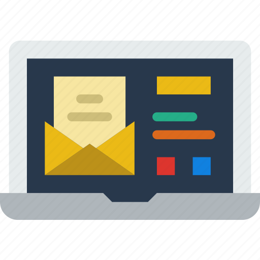 communication, contact, delivery, laptop, mail, message icon