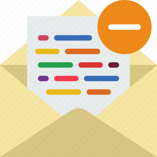 communication, contact, delivery, mail, message, substract icon
