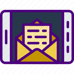 communication, contact, delivery, mail, message, tablet icon