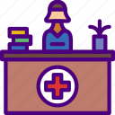 anatomy, desk, doctor, hospital, medical, reception icon