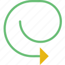 arrow, closed, cycle, direction, location, orientation icon
