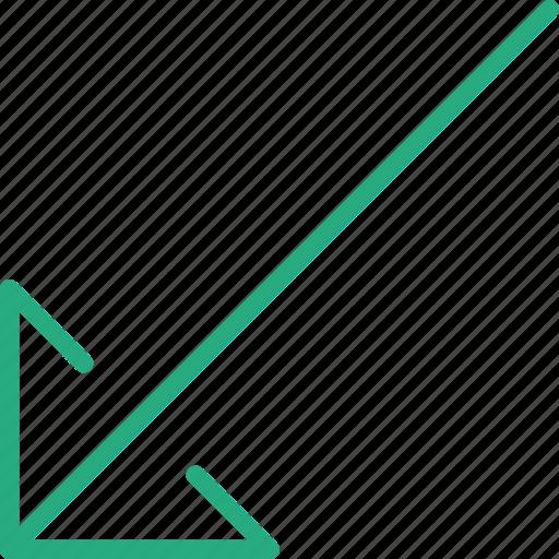 arrow, bottom, direction, left, location, orientation icon