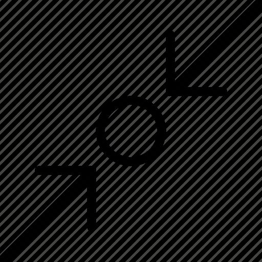arrow, compress, direction, location, object, orientation icon