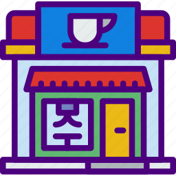 building, city, coffee, shop, street, urban icon