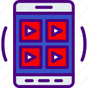 app, grid, interaction, interface, mobile, video icon