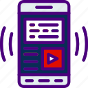app, article, interaction, interface, mobile, video icon