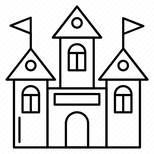 building, castle, flag, foretress, realestate icon