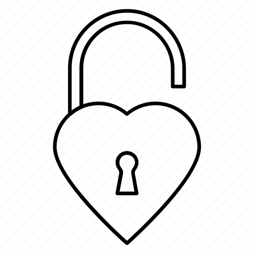 access, heart, love, opened, unlock icon