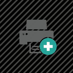 add, device, hardware, new, plus, printer icon