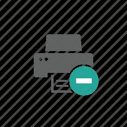 delete, device, hardware, minus, printer, remove icon