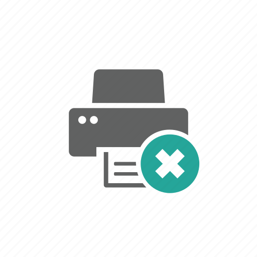 cross, delete, device, hardware, printer, remove icon