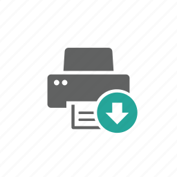 arrow, device, down, download, hardware, printer icon