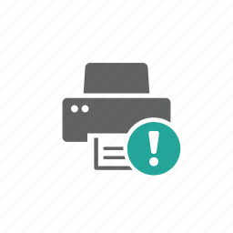 attention, device, error, exclamation mark, hardware, printer, warning icon