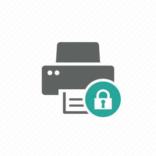 device, hardware, lock, passcode, password, printer, security icon
