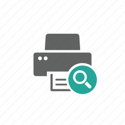 device, hardware, magnify, magnify glass, printer, search icon