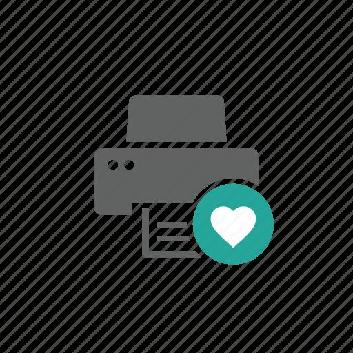 device, favorite, hardware, heart, like, love, printer icon