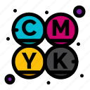 cmyk, color, printing icon