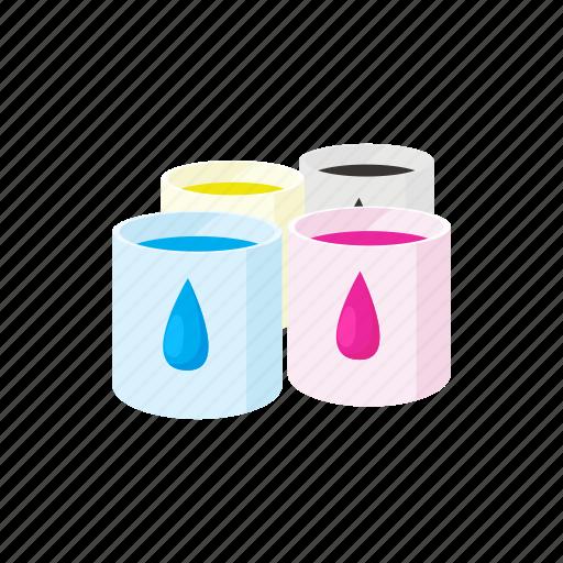 blue, colorful, paint, palette, press, print, printer icon
