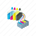 blue, cartridge, colorful, paint, press, print, printer icon