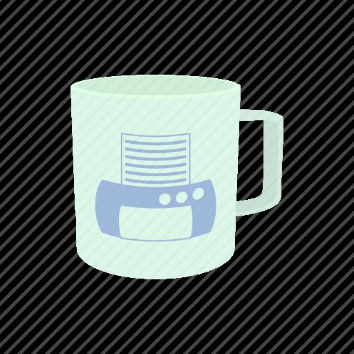 business, computer, cup, mug, print, printer, white icon