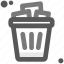 computer, document, end, eraser, finish, office, trash bin icon
