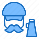 director, hat, movie, mustache, producer icon