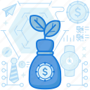dollar, finance, growth, investment, money, product, sack icon