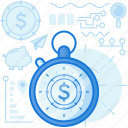 dollar, finance, investment, money, stopwatch, time, timer icon