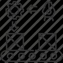 continuous flow, continuous flow icon, conveyor belt, manufacturing