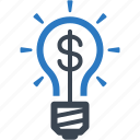 brainstorming, finance, idea, light bulb icon