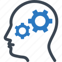brainstorming, gear, head, strategy icon