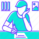 document, homework, pen, study, text, write, writing icon
