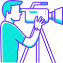 camera, maker, man, media, movie, profession, video icon