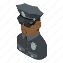 cop, isometric, african, object, man, american, policeman icon