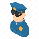 cop, isometric, man, object, person, policeman, uniform icon