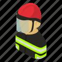 asian, emergency, firefighter, helmet, isometric, man, object icon