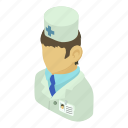 asian, doctor, health, isometric, man, medical, object icon