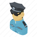 cop, isometric, asian, object, man, person, policeman icon