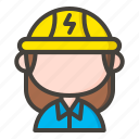 avatar, electric, electrician, female, female electrician icon