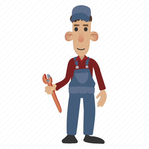 character, holding, mechanic, plumber, plunger, worker, wrench icon