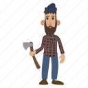 axe, beard, character, lumberjack, man, mustache, occupation icon