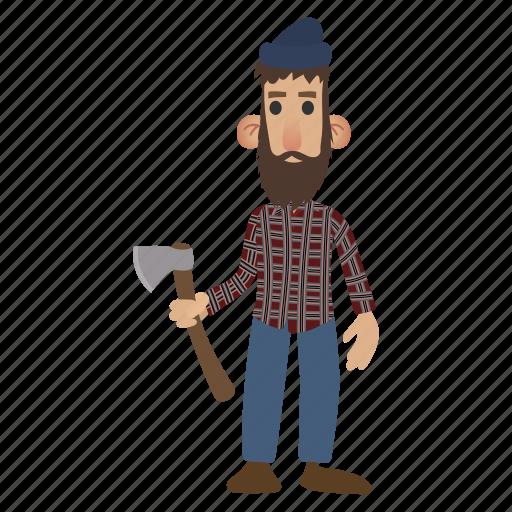 axe, beard, character, lumberjack, man, mustache, occupation icon