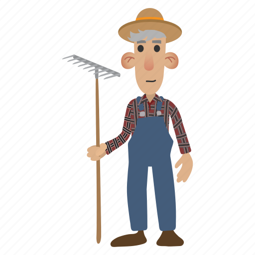apples, basket, character, farmer, hat, holding, overalls icon