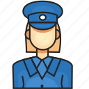 avatar, female, police, profession icon