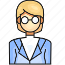 avatar, female, profession, scientist icon