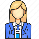 avatar, employee, female, profession icon