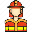 avatar, female, fireman, profession icon