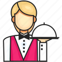 avatar, female, profession, waiter icon